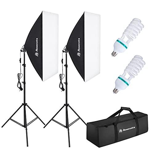 Powerextra Softbox Set Fotostudio 50 x 70cm, Dauerlicht Studioleuchte Set mit 2 Softboxlampen E27 85W 5500K, 2m Vollverstellbare Lichtstative für Studio-Porträts, Produktfotografie, Modefotos, usw.