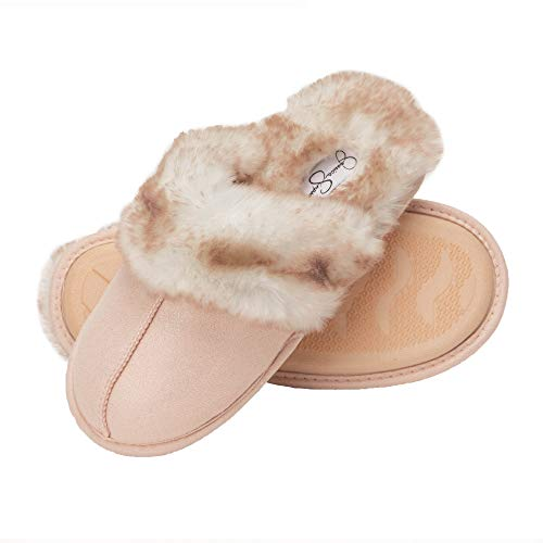 Jessica Simpson Comfy Faux Fur Womens House Slipper Scuff Memory Foam Slip On Anti-Skid Sole (Size Large, Pink)