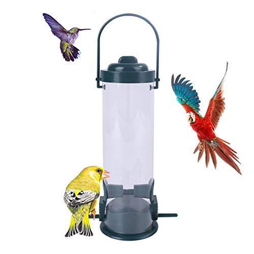 Heizung Comedero para pájaros silvestres, comedero para pájaros al aire libre, de plástico, transparente, para colgar, recipiente para semillas