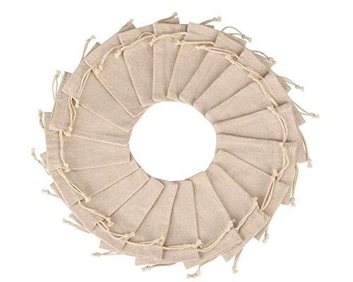 Hitopin 30 Stück Baumwolle Kleine Beutel, Baumwolltasche mit Kordelzug für Kindergeburtstag Hochzeit Party und DIY Handwerk Mitbringsel Beutel (18 * 13CM / 5,1 * 7,1Zoll, Beige)