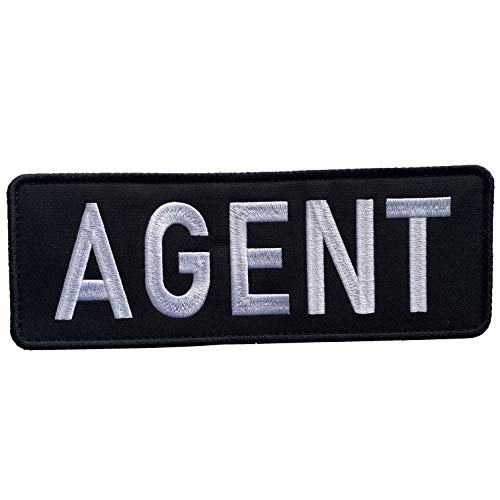 """uuKen Embroidery Police Federal Agent Patch Black and White for Security Protection Tactical Vest Jackets (Black and White, Large 8.5""""x3"""")"""