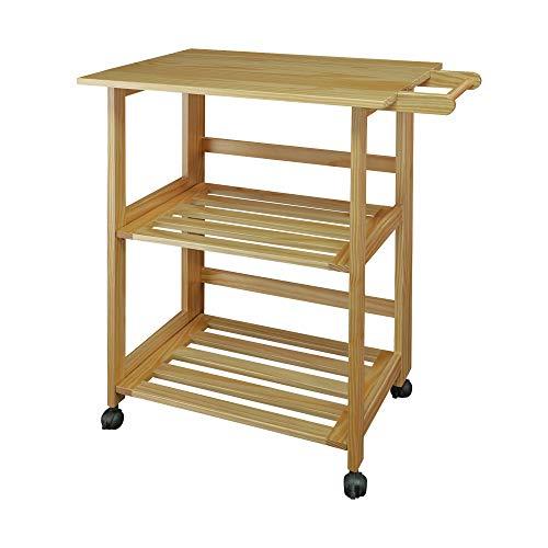 Casual Home Trek Folding Natural Kitchen Cart, 27' W