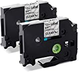 Label KINGDOM Compatible Label Tape Replacement for Brother P Touch Label Tape Clear TZe-131 TZ-131 12mm 0.47 Inch Laminated TZe Tape for PTouch PT D210 H110 D400 Label Maker, Black on Clear, 2-Pack