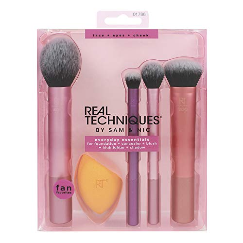 Real Techniques Everyday Essentials Make-up-Gesichtspinsel im Komplettset (Miracle-Teint-Schwamm,...