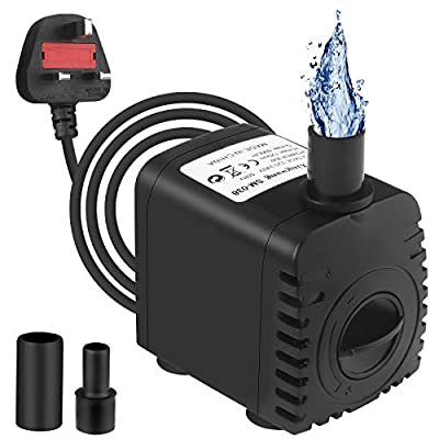 Submersible Water Pump 600L/H 8W Aquarium Mini Fountain Pump with 2 Nozzles and 1.5m/5ft Power Cord for Pond Fish Tank Garden Hydroponics System AC220-240V