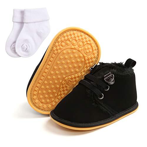 ENERCAKE Baby Booties Newborn Boy Girl Shoes Winter Warm Fur Lining Non-Slip Lace Up Prewalker Boots(6-12Months Infant, B1-Balck)