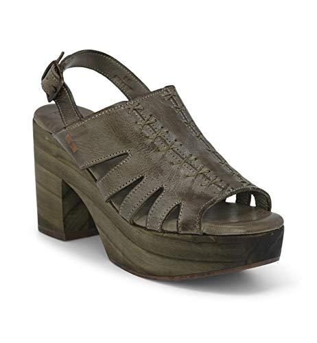 Bed|Stu Fontella Women's Leather Heel - Leather Platform Sandals - Platform Heel with Buckle Closure - Taupe DD - Size 7