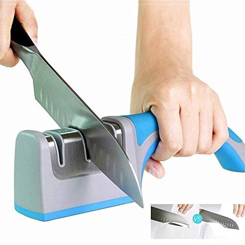 FEE-ZC Professioneller Messerschärfer, 3 Stufen Schärfen Steinschleifmesser Messer Wolfram Keramik Schärfer Werkzeug Küchenzubehör-H 2,36 Zoll Schleifsteinmesser