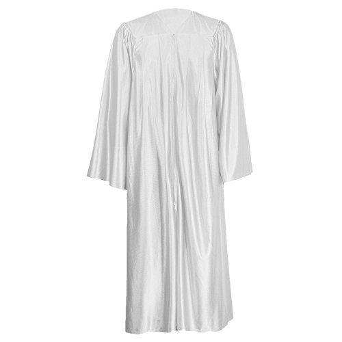 GraduationMall Unisex Economy Shiny Graduation Gown Only White XX-Small 39(4'6'-4'8')
