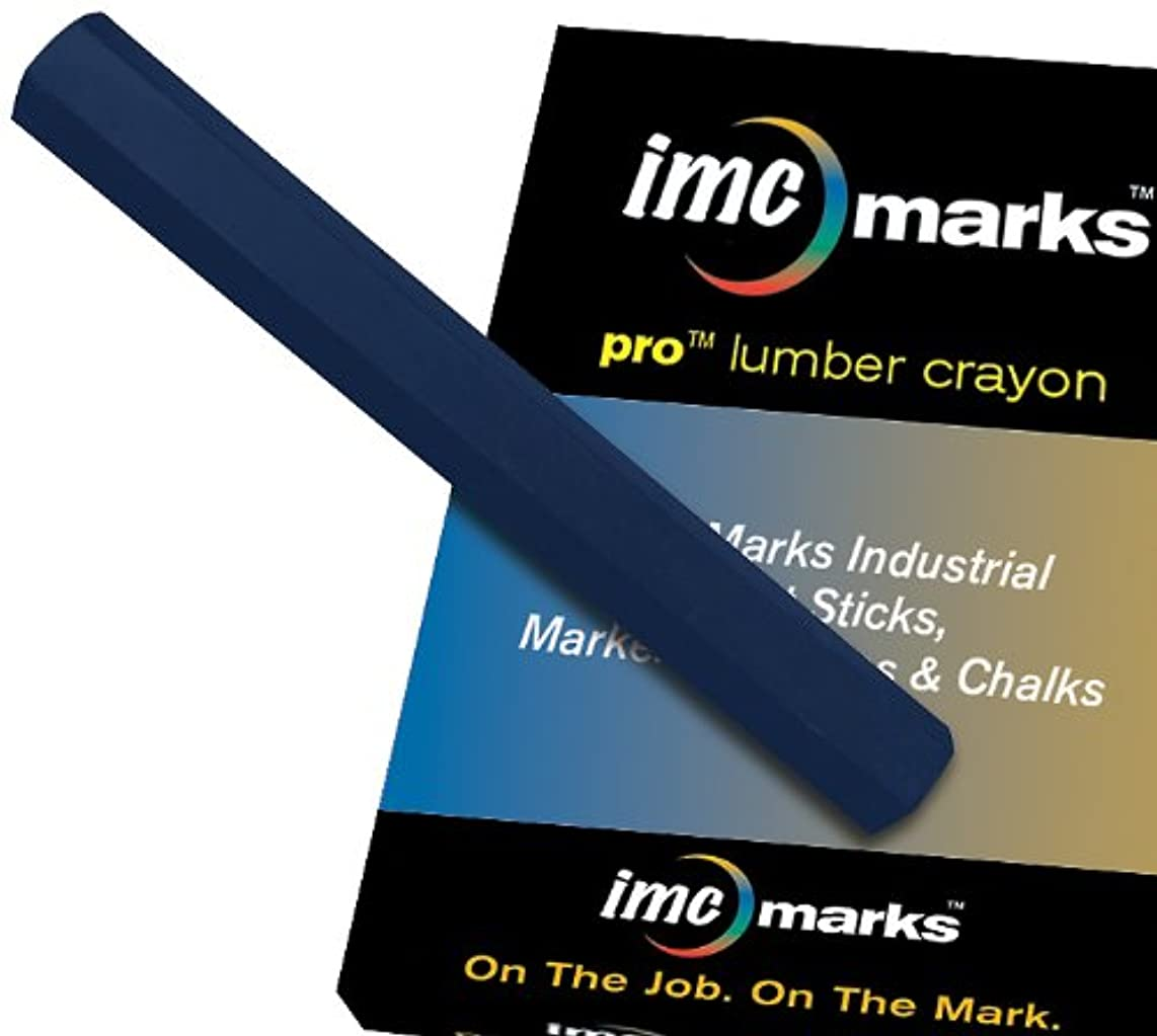IMC Marks Heavy Duty Lead-Free Non-Toxic Hex Shape Pro Lumber Crayon, Blue (Pack of 12)