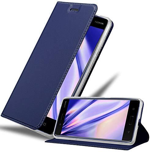 Cadorabo Hülle für Nokia 8 2017 in Classy DUNKEL BLAU - Handyhülle mit Magnetverschluss, Standfunktion & Kartenfach - Hülle Cover Schutzhülle Etui Tasche Book Klapp Style