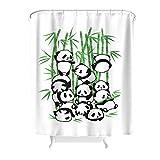 Dofeely Tier Panda Künstlerische Wirkung Muster Duschvorhang Wasserdicht Shower Curtain Panda Bad Vorhang mit inkl Duschvorhangringen Gift for Family White 180x200cm