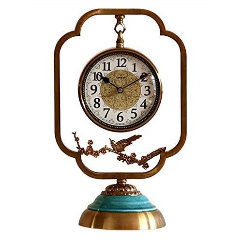 Reloj Sobremesa Relojes de Cobre de Estilo Chino Relojes y Relojes Adornos Sala de Estar Recepción Creativa Relojes Decoración del hogar Relojes de Escritorio Bronce Escritorio Reloj (Color : A)
