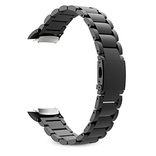 MoKo Samsung Gear Fit 2 y Fit 2 Pro Correa de Reloj, Pulsera Universal Acero Inoxidable Brazalete SmartWatch Banda + Conector para Samsung Gear Fit 2 SM-R360 y Fit 2 Pro Smartwatch, Negro
