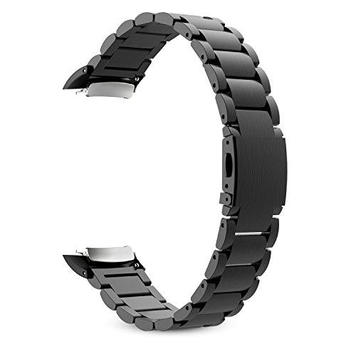 MoKo Armband Kompatibel mit Gear Fit 2 / Fit2 Pro (SM-R360/SM-R365) - Edelstahl Metall Uhr Band Strap Uhrenarmband Erstatzband Replacement, Bandlänge 140mm-215mm, Schwarz