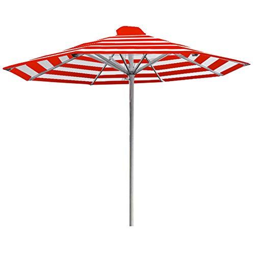 Wsaman Parasol octogonal con 8 varillas de fácil montaje, impermeable, protección UV para playa/piscina/patio/patio, tienda de refugio de sol, aluminio rojo blanco