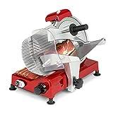 Klarstein Carpaccio cortafiambres, 240 W de potencia / 282 rpm, grosor de la corte de 1 a 12 mm, superficie de corte de 200 x 155 mm, rojo
