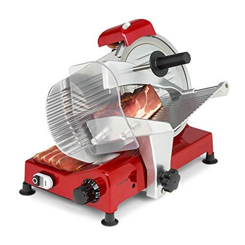 Klarstein Carpaccio cortafiambres, 240 W de potencia   282 rpm, grosor de la corte de 1 a 12 mm, superficie de corte de 200 x 155 mm, rojo
