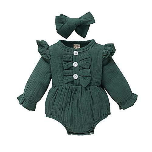 2 piezas de ropa para bebés y niñas, color sólido, cuello redondo, manga larga, tocado de otoño, verde oscuro, 9 mes