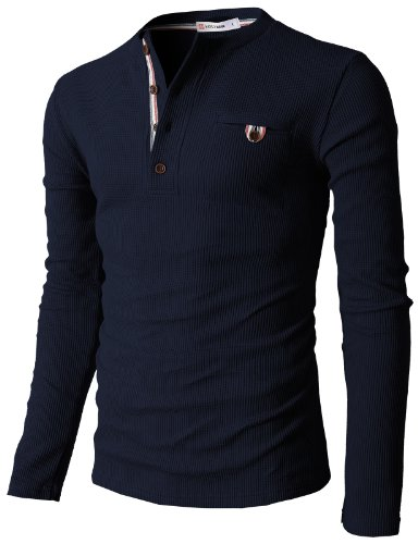 H2H Mens Long Sleeve Slim Fit Henley Shirts NAVY US S/Asia M...