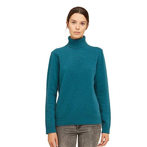 Dames Pullover Coltrui Sweater van 100% Virgin wol kleur blauwgroen blauw