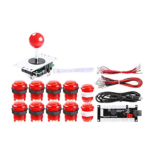 Hikig 1 Player DIY Arcade Cabinet Parts Kit, 10x LED Arcade Buttons + 1x 5PIN Joystick + 1x Zero Delay USB Encoder for Mame Jamma PC Games & Raspberry Pi, Red Kit