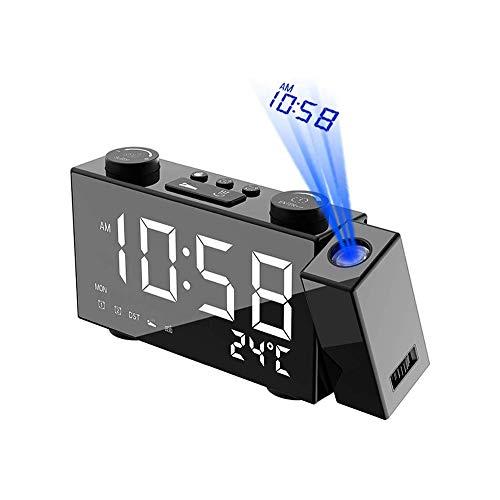 Aobay Multifuncional LED reloj de proyección, Creative USB Alarma electrónica, reloj digital de noche, silencioso luminosa del dormitorio Salón Comedor, despertador de la proyección de noche, Temporiz