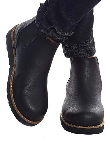 Leif Nelson Herren Schuhe Klassische Stiefel Freizeitschuhe Boots Winterschuhe Männer Sneakers LN159; 44, Schwarz