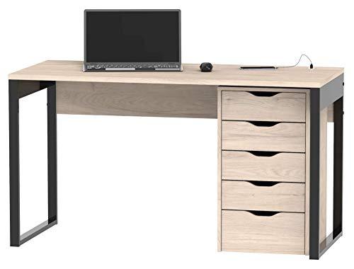 Miroytengo Conjunto Mesa Escritorio + cajonera Color Roble despacho Oficina Estudio Ordenador almacenaje Mueble