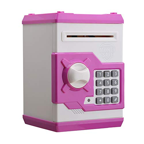 Waitata Children's Cartoon Electronic Password Piggy Bank Mini ATM Bank Security Lock Smart Voice Prompt Automatic Roll Banknotes and Coins Best Children's Birthday Gift Fun Toys …