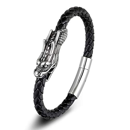 WXYBF Herenarmband voor heren, 19/21 cm, symbool draakpatroon, echt leer, armband met magneetsluiting, cadeau