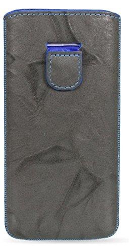 MediaDevil HTC One M8 (2014) Lederhülle (Dunkelgrau mit blauen Nähten) - Artisanpouch Hülle aus echtem europäischen Leder mit Ausziehlasche