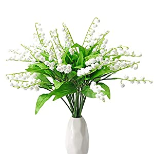 MINYULUA Artificial Baby Breath Flowers Faux White Gypsophila Bulk Artificial Gypsophila Bouquets Silk Real Touch for Home Party Wedding DIY Decor(20 PCS)