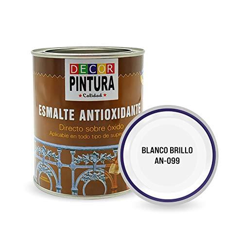 Pintura Blanco Brillo Antioxidante Exterior para Metal minio Pinturas Esmalte Antioxido para galvanizado, hierro, forja, barandilla, chapa para interiores y exteriores - Lata 750ml