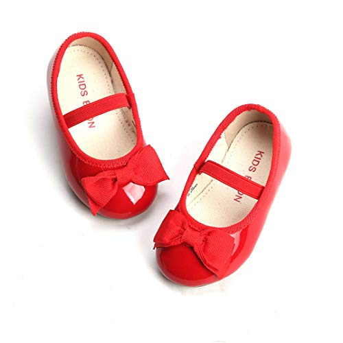 THEE BRON Girl's Toddler/Little Kid Ballet Mary Jane Flat Shoes (7M US Toddler, G02 Red)