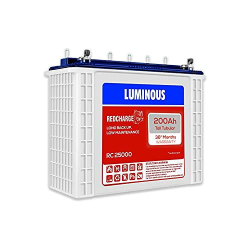 Luminous Red Charge RC 25000 200 Ah, Recyclable Tall Tubular Inverter Battery for Home, Office...