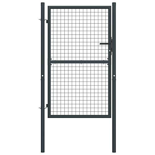 Festnight Cancello per Giardino in Ferro, Cancello per Recinzione in Acciaio Zincato Grigio 100x200 cm