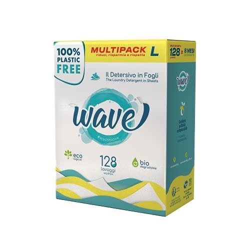 Wave Washing Classic - Il Detersivo in Fogli - 100% PLASTIC FREE - Multipack L - 128 Lavaggi - Ecologico - Biodegradabile - Compostabile