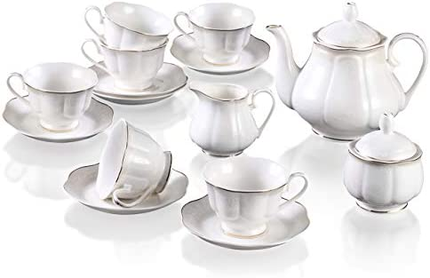 Porcelain Coffee Set And Tea Cups 15 Pcs 7 Oz Golden Wavy Edge White New Bone China Cups And Saucers For 6 With Teapot Sugar Bowl And Creamer Pitcher Amazon Ca Home Kitchen