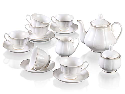 15PCS Juego de Café Porcelana Inglesa - Vintage Blanco Juego de 6 Tazas de Té y 6 Platillos con Tetera en Relieve de Flores Set de Tazas de Café