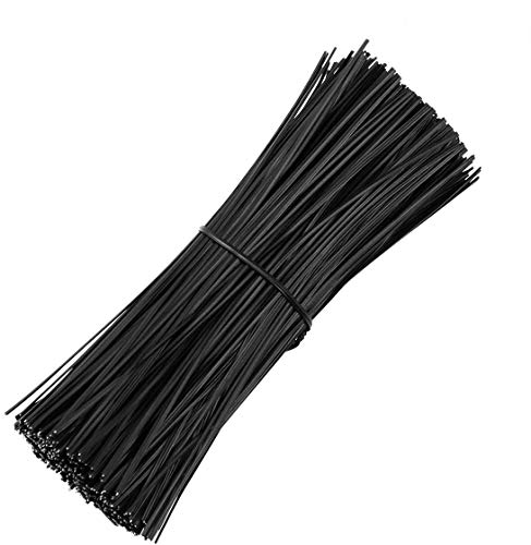Riccioofy 1000Pcs 8 Inch Plastic Twist Ties,Cable Ties for Plants Grape Vine Trellis Wire Ties for Bread Candy Bags Cable Tie Organizer(Black)
