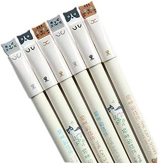 أقلام جل الحبر الأسود، 6 أقلام لطيفة للعين اليابانية قطة كاواي يابانية، مجموعة أقلام برأس رفيع 0.38 مم، أقلام برأس رفيع جد...