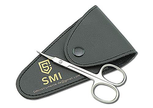 SMI - 9,5 cm Hautschere extra fein gebogen, Nagelschere fingernägel, Nagelhautschere Profi, Maniküre Schere Nagelhaut kleine Edelstahl, mit etui
