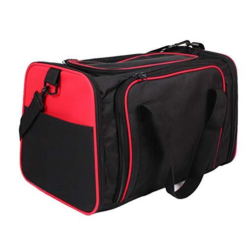 CNMF transporttas hondenmand voor het vervoer van hond en kat in het vliegtuig, auto of in de trein met zachte bekleding voor een ontspannende reis met kleine dieren 48x30x30cm, rood