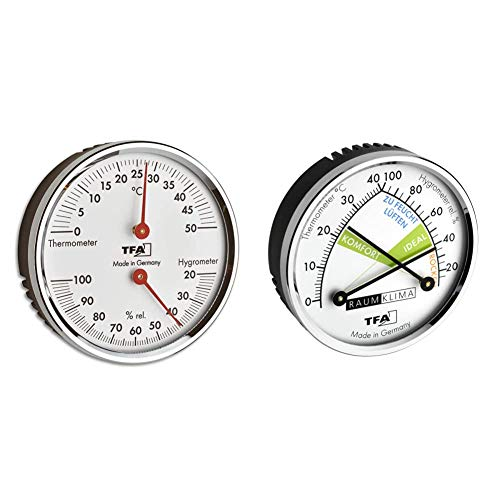 TFA Dostmann Analoges Thermo-Hygrometer, 45.2041.42, mit Metallring, silber, L120 x B29 x H235 mm & Thermo Analoges Thermometer Hygrometer mit Metallring, L120 x B29 x H235 mm