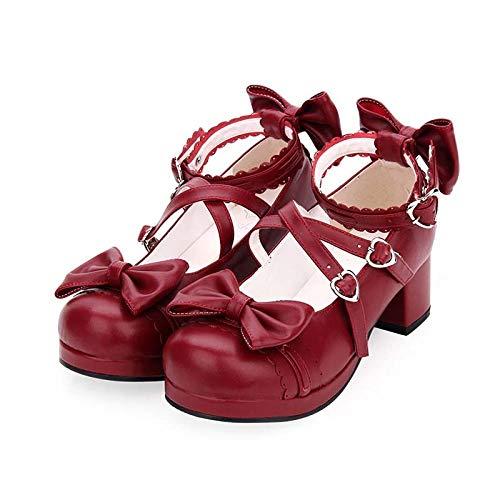 LIGEIAOGIAO Niñas niñas Lolita Cosplay Zapatos Damas Tacones Altos Mujeres 35-46-vino Tinto_43