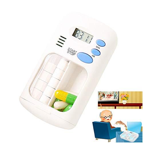 2 roosters dagelijkse mini elektronische geneeskunde draagbare pil, pil dispenser dispenser doos met digitale alarm timer medicatie herinneringen