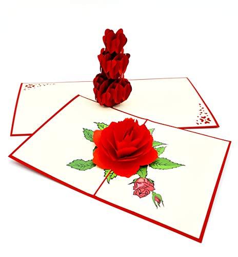 Pop up 3D Romantische Liebeskarte 2er Set Karte bestes Geschenk Rote Rose und Herzen Stapel Motive liebe zu Hochzeitstag Geburtstagskarte Verlobung Muttertag
