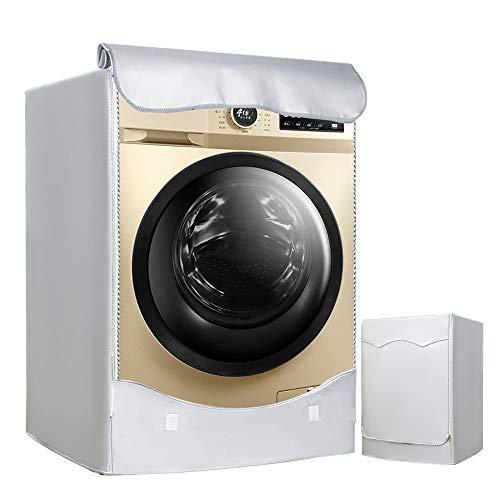 LEESITEC Lavatrice Copertura, Argento Esterni Impermeabile Anti-ultravioletti per di Carica Frontale lavatrici e Asciugatrice Copertura-60 x 53 x 85CM Argento