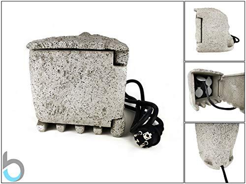 Preisvergleich Produktbild Steinsteckdose Außensteckdose Steckdose Verteiler Garten Stein Gartensteckdose